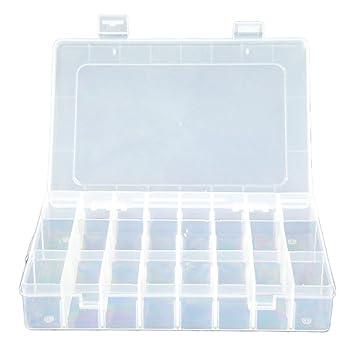 Cdet 24 Caja Organizador del Grano de la joyería Transparente Caja del Compartimentos envase del almacenaje (24 Rejillas)