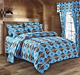 Western Essence Southwest Native American Design Navajo Turquoise 4 Piece Comforter Set (King)