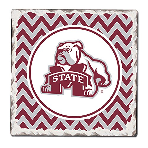 CounterArt Set of 4 Absorbent Tumbled Tile Coasters, Mississippi State - Square Logo State Mississippi
