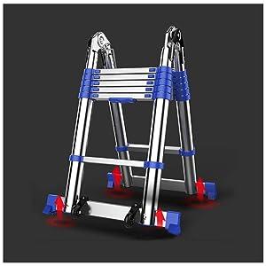 Aluminum Anti-Skid Multi-Function Ladder Portable Extension Ladder European Standard Folding Telescopic Stairs (Multi-Function Ladder 7.38+7.38ft)