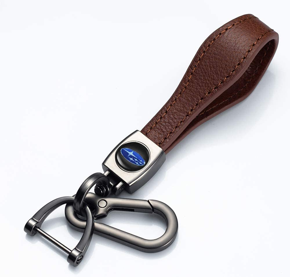 JIYUR 1pc Genuine Leather Car Logo Keychain Suit for Subaru Key Chain Keyring Family Present for Man and Woman