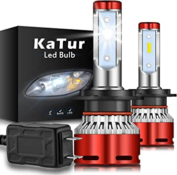 2PCS H7 LED Headlight Bulbs ZES Chips Kit High Low Beam 6500K 16000LM 60W 12-24V