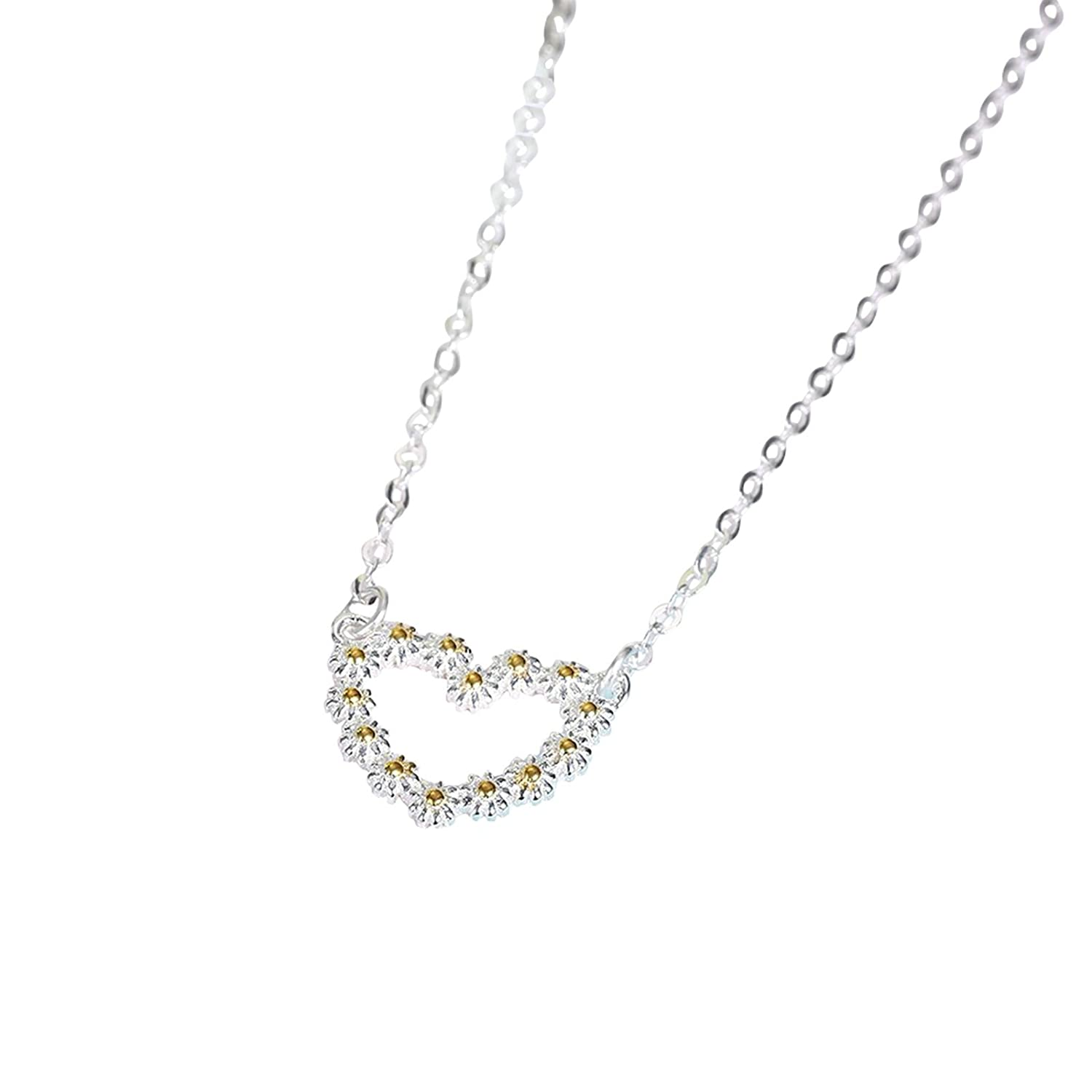 40+5 cm Aokarry S925 Silver Necklace for Women Flower Heart Silver Chain Length