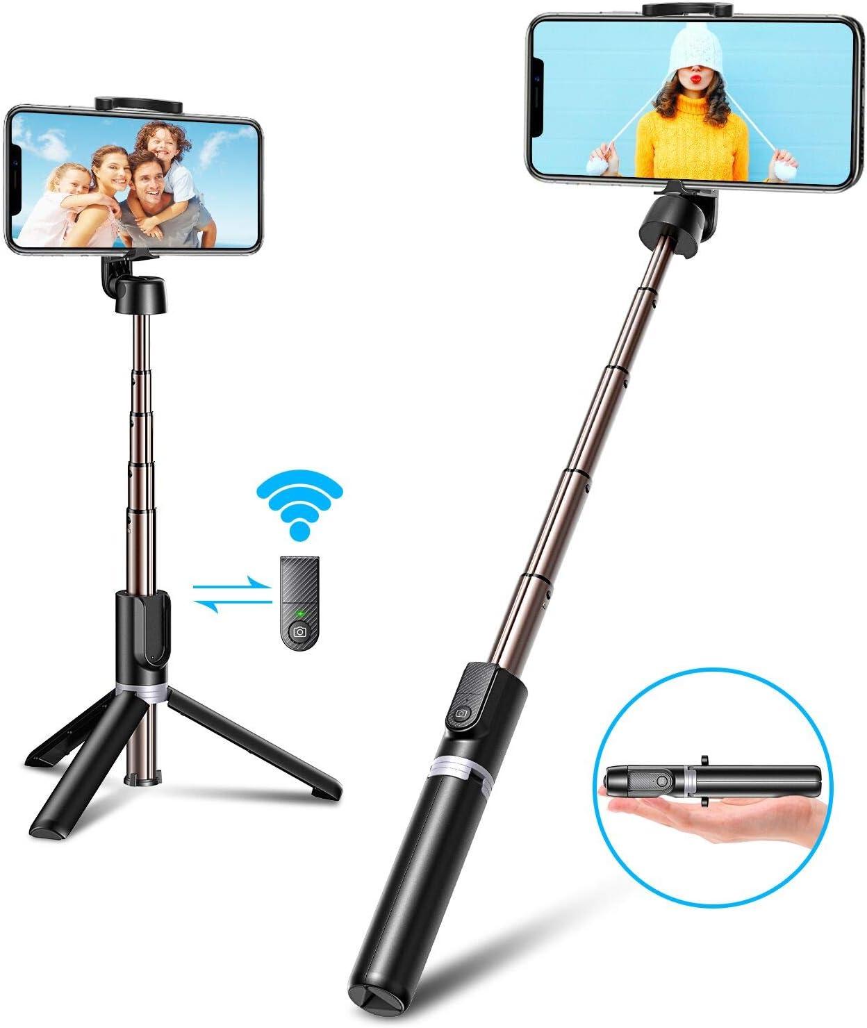 Bovon Palo Selfie Tripode, 3 en 1 Mini Tripode para Movil con Bluetooth y Control Remoto, Selfie Stick Extensible Compatible con iPhone 11Pro Max/11 Pro/XS Max/XR/8/8Plus, Galaxy S20 Plus/S10, Huawei