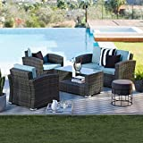 Brown Modern All-Weather Wicker 4 Piece Patio Conversation Set with Cushion | Stylish Contemporary Furniture to any Home Outdoor by the BBQ Grill, Gazebo, Garden, Pool or Firepit