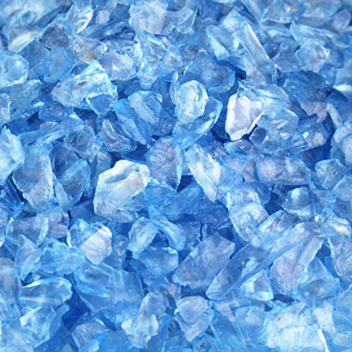 CYS EXCEL Glass Vase Fillers, Glass Gravel, Crushed Stone, Stone Gem for Centerpieces, Approx 5000 Pieces, 2LBS (Glass Gravel Light Blue) -
