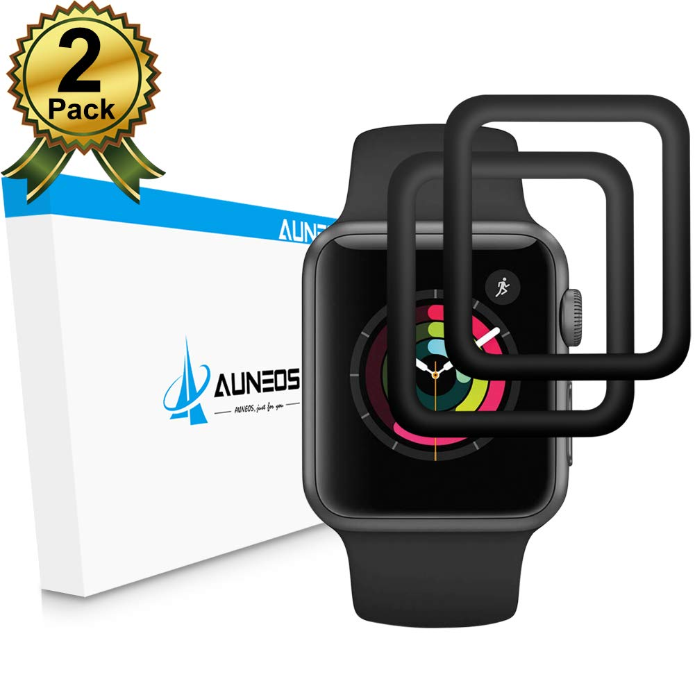 [6D Full Adhesive] Apple Watch Screen Protector Series 3 42MM [Series 2/3] [Full Edge Coverage] AUNEOS Tempered Glass Screen Protector for Apple Watch 3 [Case Friendly] [2 Pack] (42mm, Black)
