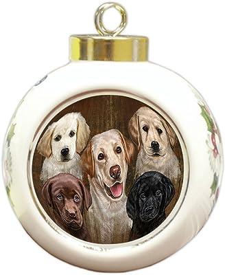 Doggie of the Day Rustic 5 Labrador Retrievers Dog Round Ball Christmas Ornament RBPOR48250