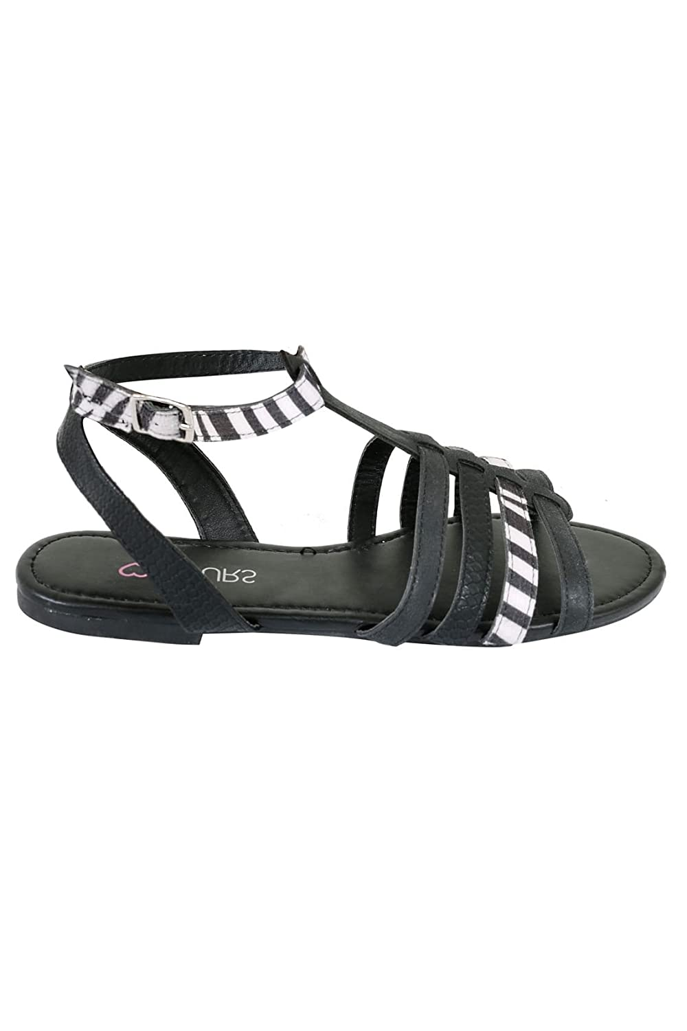 d22ad7ea2854 Yours Clothing Wide Fit Women s Zebra Gladiator Sandals In Eee Fit   Amazon.co.uk  Clothing