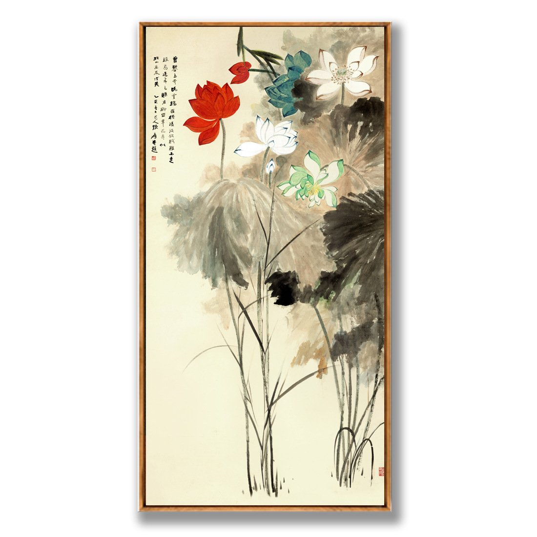 Sykdybz 現代的な中国絵画蓮の 3 つのオンライン店舗への書き込みや、 C の当ホテルは、 40 X 80 Cm で装飾されている。 B07D5VVS31 C C