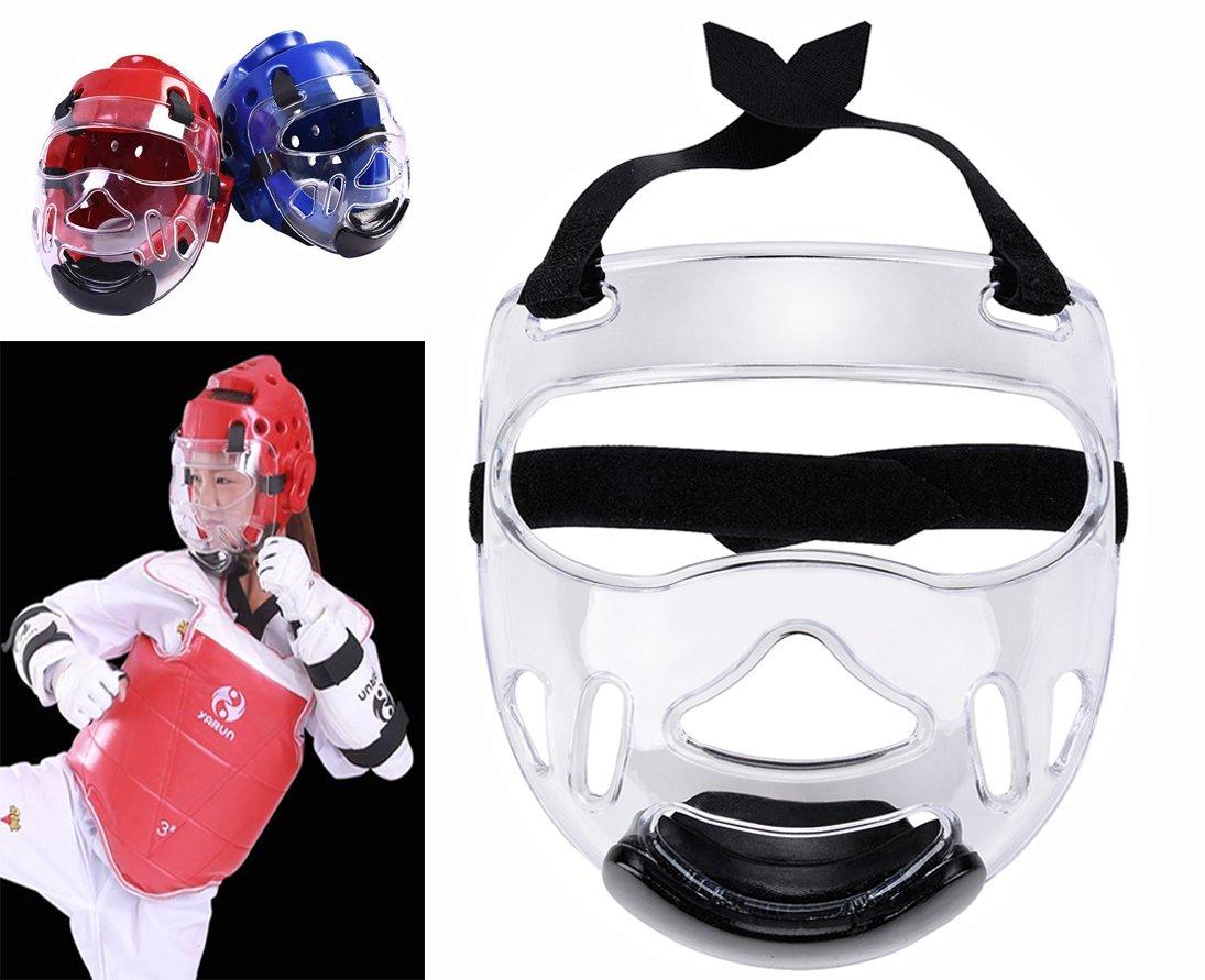 Sport Clair Masque de Protection, Fansport Tête de Protection Masque de Casque de Taekwondo Transparent Détachable Pour Hommes Femmes