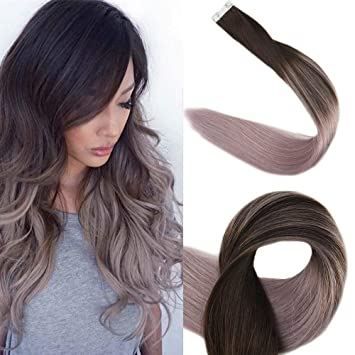 Surprise 20 Tape In Real Hair Extensions Full Head Remy Hair Extensions Balayage Ombre Hair Extensions Silver Ombre Balayage Glue In Hair Extensions