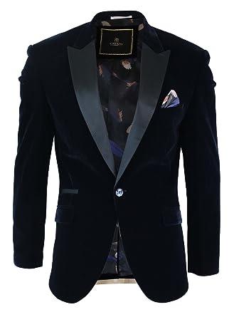 Cavani Mens Soft Velvet Black Navy 1 Button Dinner Jacket Tuxedo