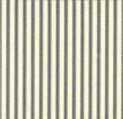 Close to Custom Linens Bradford Layered Valance in French Country Brindle Gray Ticking Stripe (Ticking/Gingham)