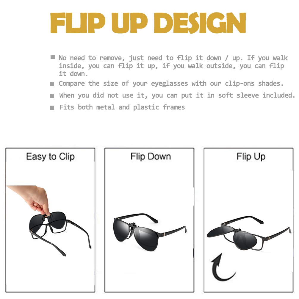 4e866c947ce Amazon.com  WELUK Polarized Clip-on Flip up Sunglasses Aviator Style for  Prescription Glasses  Clothing