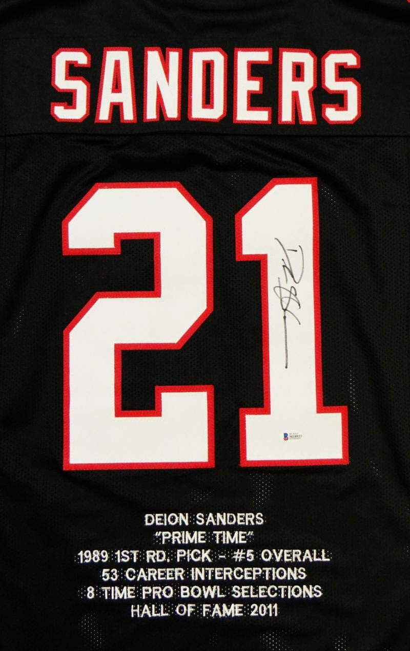 new styles fd64c 851a6 Deion Sanders Autographed Black Pro Style Stat Jersey ...