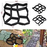 go2buy 2 Pack Plastic Pathmate Walk Way Paver Concrete Stone Mould Paving Mold Black