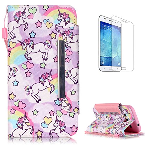 (Samsung Galaxy Core Prime G360 Premium Leather Wallet Case [Free Screen Protector],KaseHom Cute Animal Unicorn Rainbow Pattern Design Folio Flip Magnetic Protective PU Leather Case Cover Skin Shell)