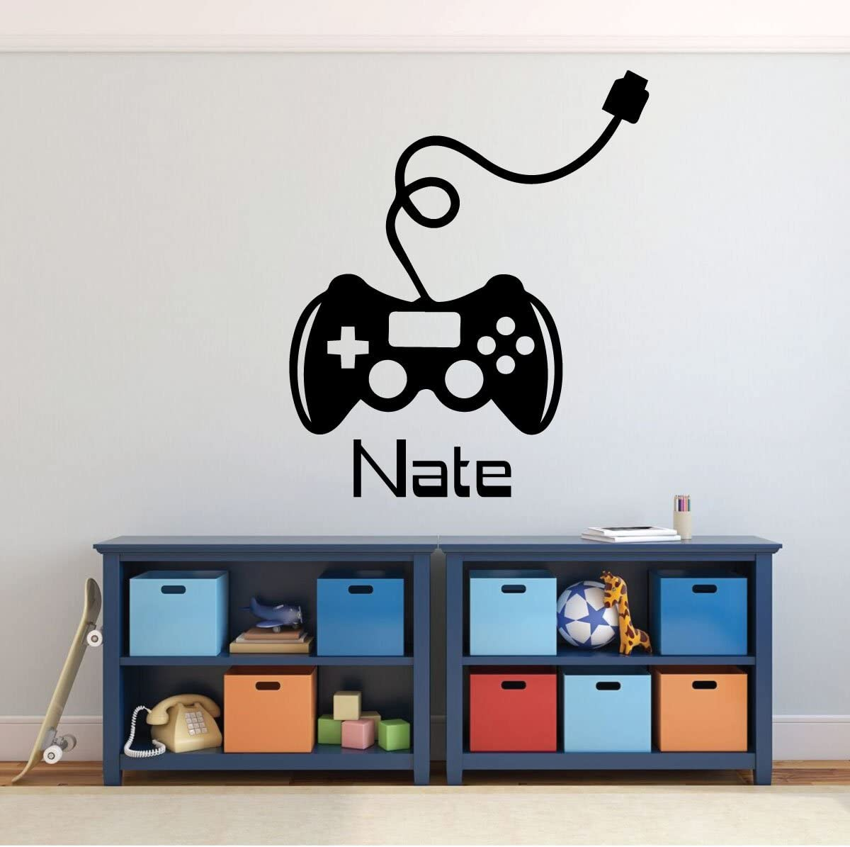 Game Room Wall Decor - Gamer Controller with Personalized Name Vinyl Decal Stickers for Home in Teens and Kids, Boys Bedroom, Playroom or Man Cave - Custom Sizes and Colors Complement any Living Space