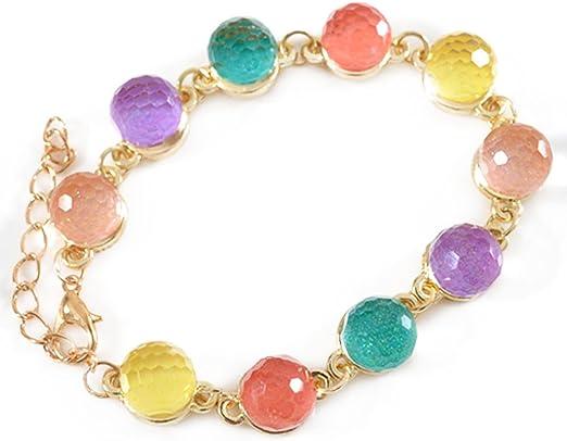 Hosaire Pulseras de Bola de Cristal de Caramelos de Colores Transparentes Pulseras Mujeres de la Joyería Accesorios: Amazon.es: Hogar