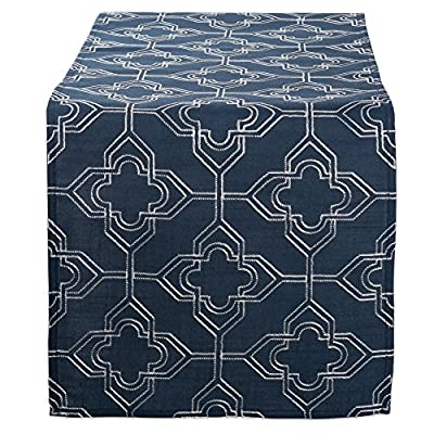 "DII Polyester Embroidered Table Runner for Spring Garden Party, Summer BBQ, Baby Showers and Everyday Use - 14x70"", Lattice on Navy Base - FOR YOUR TABLE - Our 100% polyester table runner measures 14x70"". Fits tables that seat 4-8 people. EASY CARE - 100% polyester. Hand wash cold, line dry. Low iron if needed. ADDS A FINISHING TOUCH - Fashioned in timeless lattice designs. Perfect for your summertime entertaining, spring garden party, outdoor BBQ or tropical themed party. - table-runners, kitchen-dining-room-table-linens, kitchen-dining-room - 613k 8PdvCL. SS400  -"