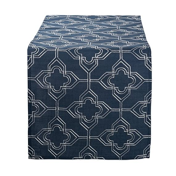 "DII Polyester Embroidered Table Runner for Spring Garden Party, Summer BBQ, Baby Showers and Everyday Use - 14x70"", Lattice on Navy Base - FOR YOUR TABLE - Our 100% polyester table runner measures 14x70"". Fits tables that seat 4-8 people. EASY CARE - 100% polyester. Hand wash cold, line dry. Low iron if needed. ADDS A FINISHING TOUCH – Fashioned in timeless lattice designs. Perfect for your summertime entertaining, spring garden party, outdoor BBQ or tropical themed party. - table-runners, kitchen-dining-room-table-linens, kitchen-dining-room - 613k 8PdvCL. SS570  -"