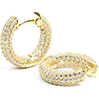 Mens Fully Ice Out Small 14K Gold Lab Simulated Diamond Huggie Hoop Earrings Rc1