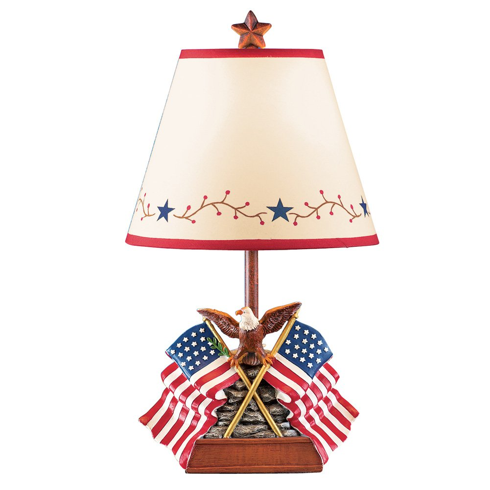 Collections Etc Country Primitive Americana Flag & Eagle Table Lamp Patriotic Home Décor