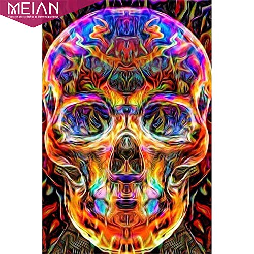 Cross Stitch -,Full Round &Quot;Colorful Skull&Quot;DIY Diamond Painting Drill Picture Diamond Embroidery Mosaic Sale, Halloween Accessories -