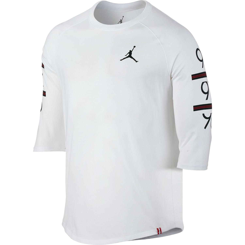 8bf21276a2d Amazon.com: Jordan 862423-100 Men 6 Times 3/4 Raglan White Black: JORDAN:  Clothing