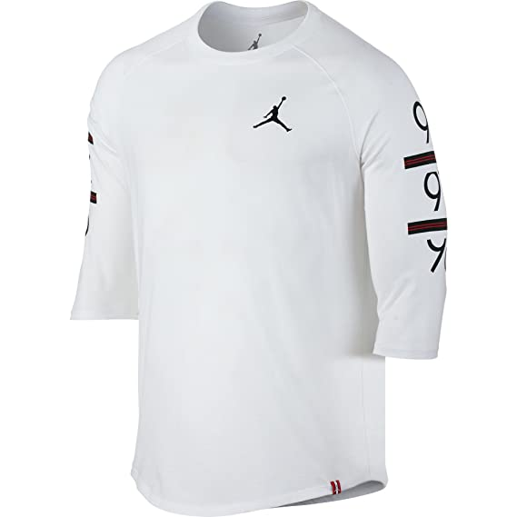 a29ae355965845 Jordan 862423-100 Men 6 Times 3 4 Raglan White Black - Multi -  JORDAN   Amazon.co.uk  Clothing