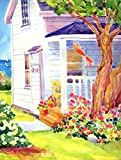 Caroline's Treasures 6040CHF White Cottage House at The Lake or Beach Flag Canvas, Large, Multicolor