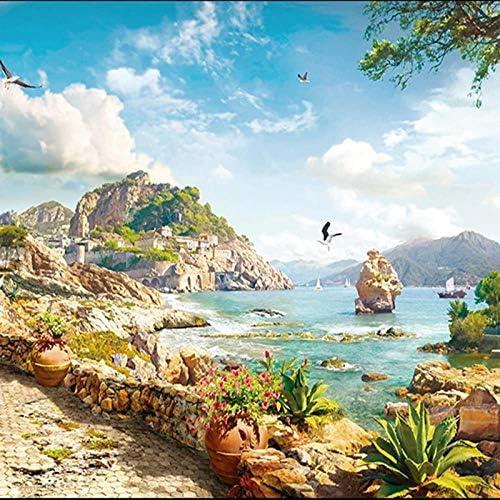 3D壁紙壁画ヴィンテージヨーロッパの島の風景パターン石膏壁アートリビングルームテレビの背景壁画-250x170cm