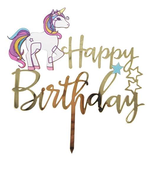 Unicorn - Decoración para tarta de cumpleaños, diseño de ...