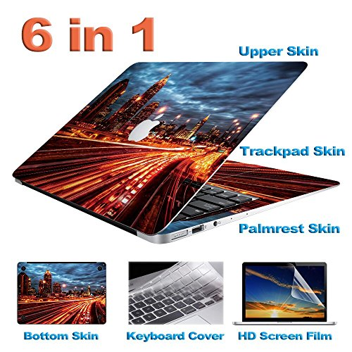 Zwish City and Street at Night Removable 6 in 1 Ultra Thin Full Body Vinyl  Art Skins Decal Sticker for MacBook Air 13 3-inch Set w/ Screen