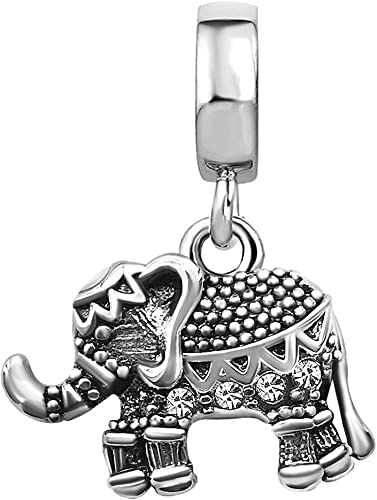 Baby Elephant Charm And Crystal Birthstone Spacer Beads For Charm Bracelets