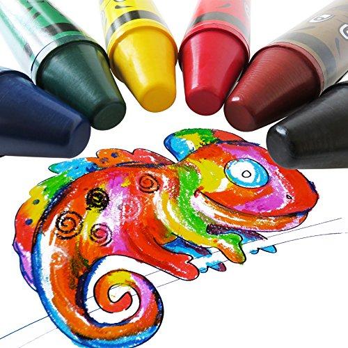 Histar Jumbo Crayons 6 Colors Fat Crayons Easy-grap Kids Chunky Crayons Portable Washable Large Crayons, Durable Big Crayons, Safty Art Tools