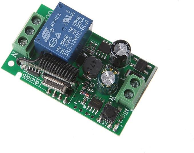 siwetg 220 V CA, 10 A, 1CH, radiofrecuencia, 433 MHz Receptor de Radio y transmisor