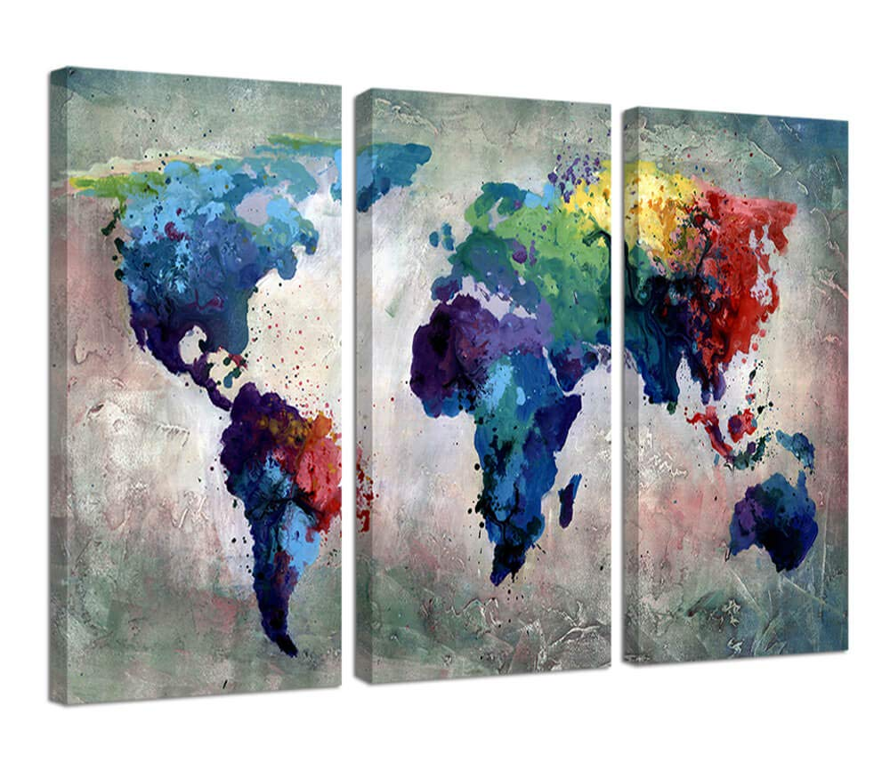 Ardemy Canvas Wall Art Abstract World Maps Blue Framed Painting Retro Old 3 Panels Giclee Prints Gallery Wrapped Ready to Hang for Living Room Bedroom Study Room Office Home Decor AR131-3