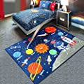 "HEBE Kids Area Rug Solar System 40""x51"" Educational Learning Carpet Non Skid Washable Nursery Children Area Rug for Playroom"