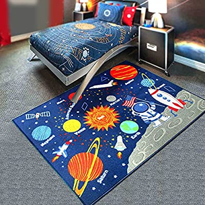 """HEBE Kids Area Rug Solar System 40""""x51"""" Educational Learning Carpet Non Skid Washable Nursery Children Area Rug for Playroom"""