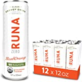 RUNA ZERO Organic Clean Energy Drink from the Guayusa Leaf, Blood Orange, Calorie Free & Sugar Free, 12 Ounce (Pack of 12)