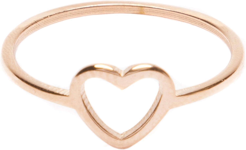 Stainless Steel Black Open Love Heart Link Fancy Ring