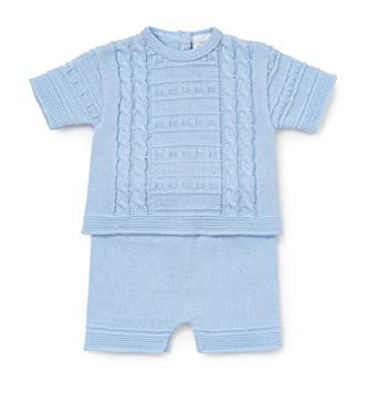 Spanish Wear Baby Boys Fine Knitted Cable Design 2 Piece Short Set