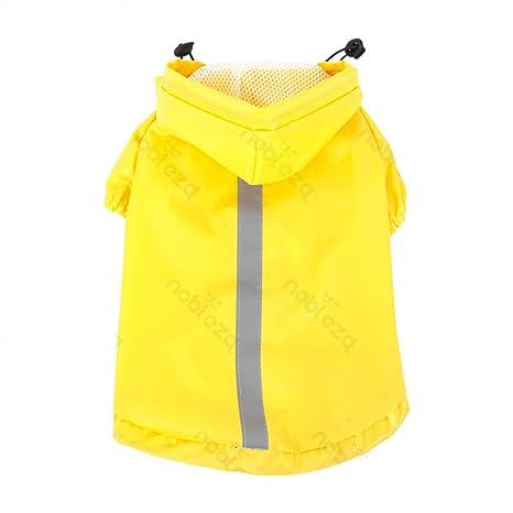Impermeable para perros Nobleza con capucha, color amarillo, largo 40 cm. Envío gratis