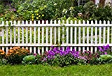 Leyiyi 8x6ft Photography Background Happy Valentine's DayBackdrop Colorful Spring Garden Wooden Fence Grassland Outdoor Party Flora Wedding Ceremony Luck Girl Lay Flat Photo Portrait Vinyl Studio Prop