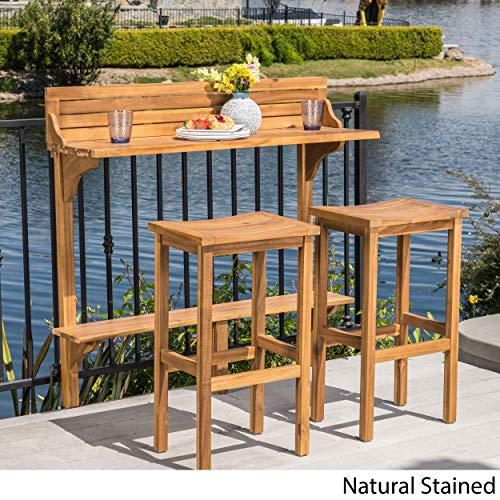 Christopher Knight Home Caribbean Outdoor 3-Piece Acacia Wood Balcony Bar Set by ()
