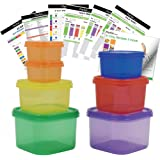 7 PCS Portion Control Containers Kit (with COMPLETE GUIDE & 21 DAY DAILY TRACKER & 21 DAY MEAL PLANNER & RECIPES PDFs) ,Label-Coded,Multi-Color-Coded System,Perfect Size for Lose Weight