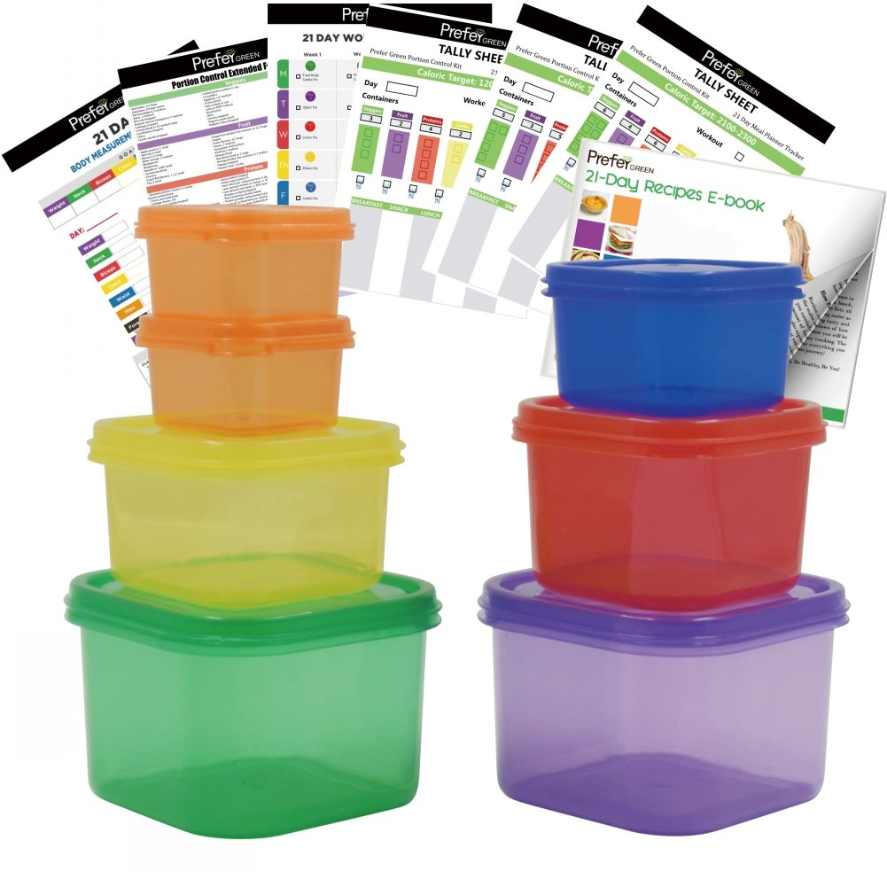 Prefer Green 7 PCS Portion Control Containers Kit (with COMPLETE GUIDE & 21 DAY DAILY TRACKER & 21 DAY MEAL PLANNER & RECIPES PDFs),Label-Coded,Multi-Color-Coded System,Perfect Size for Lose Weight
