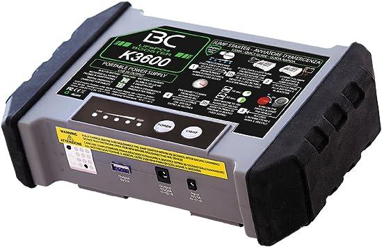 BC Booster K3600-12V 1200A - Arrancador de Emergencia para Coche y Moto + Batería Portátil con USB 20000 mAh para Smartphones y Tabletas + Antorcha LED SOS: Amazon.es: Coche y moto